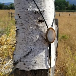 Jewelry - Vintage Montana Agate and Leather Bolo Tie